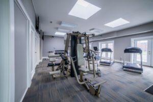 fitness equipment in well light room