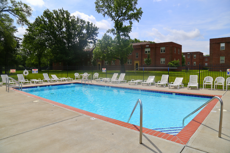 Marcy Village Pool with plenty of seating