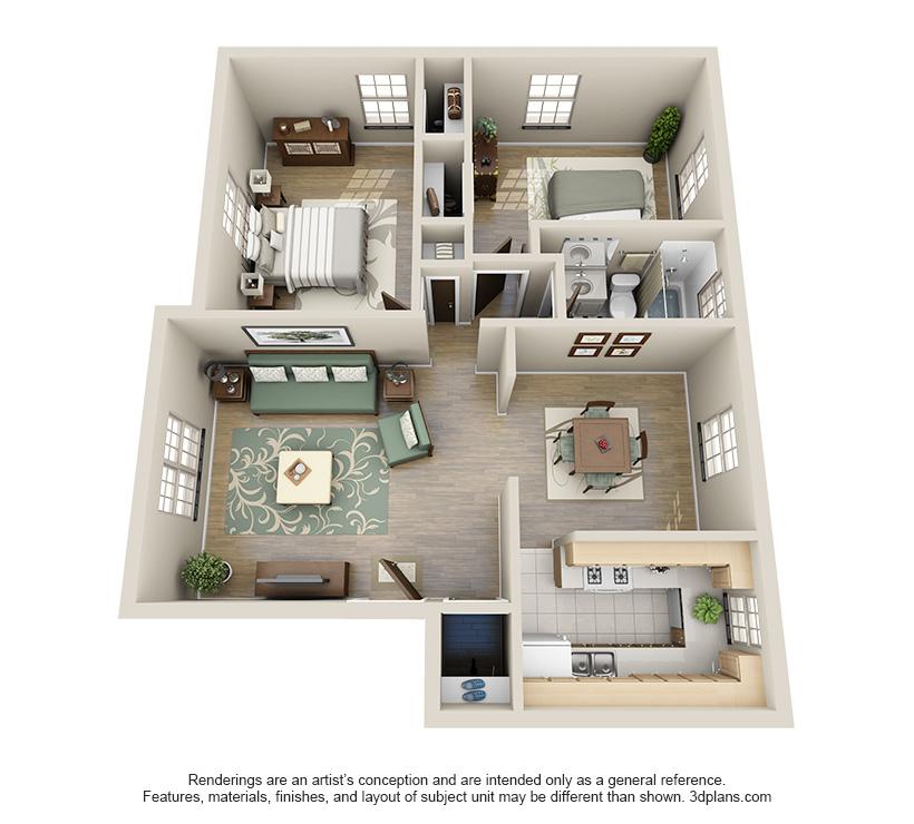 The Alexander is a 2 bed 1 bath, 925 sqft. apartment