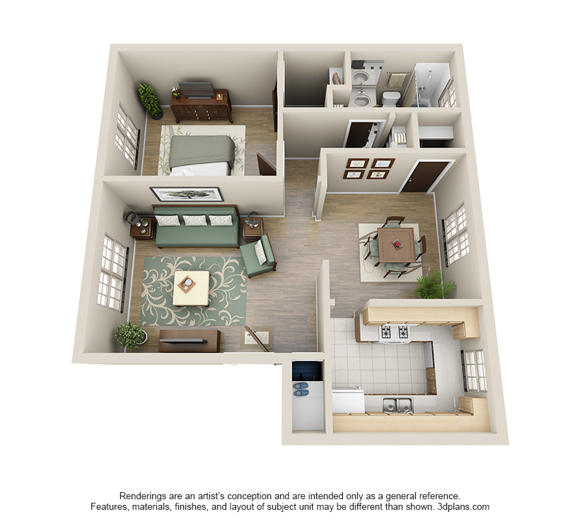 The Carson is a 1 bed 1 bath, 825 sqft. apartment