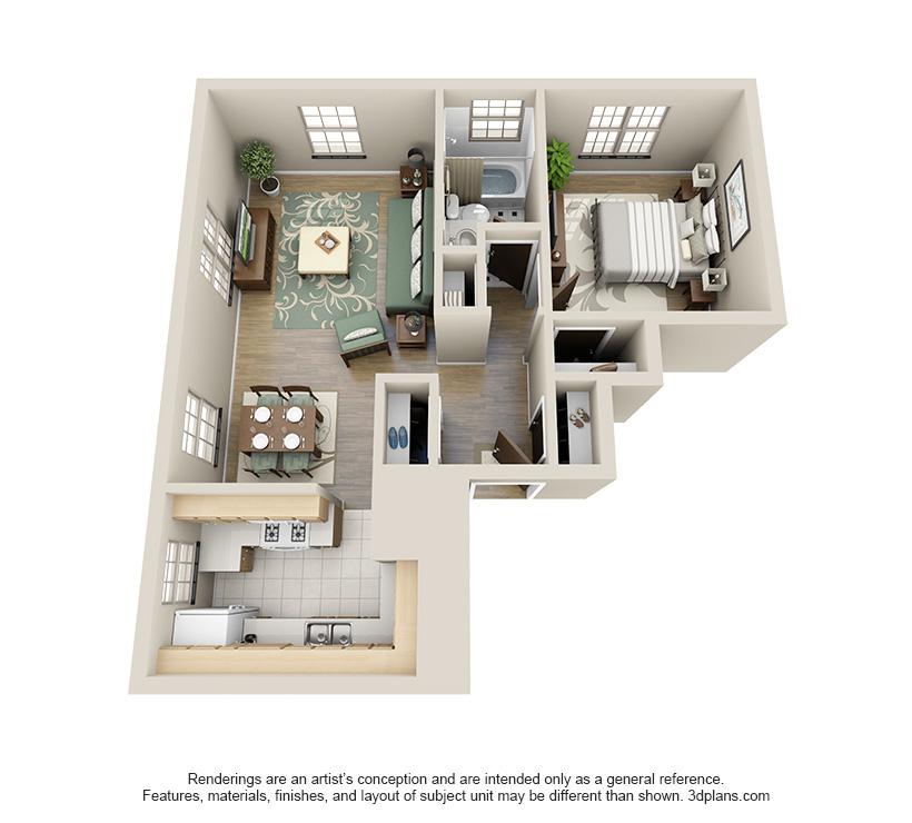 The Dawson is a 1 bed 1 bath, 727 sqft. apartment