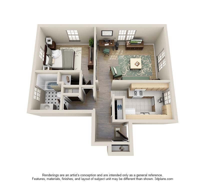 The Everett is a 1 bed 1 bath, 717 sqft. apartment