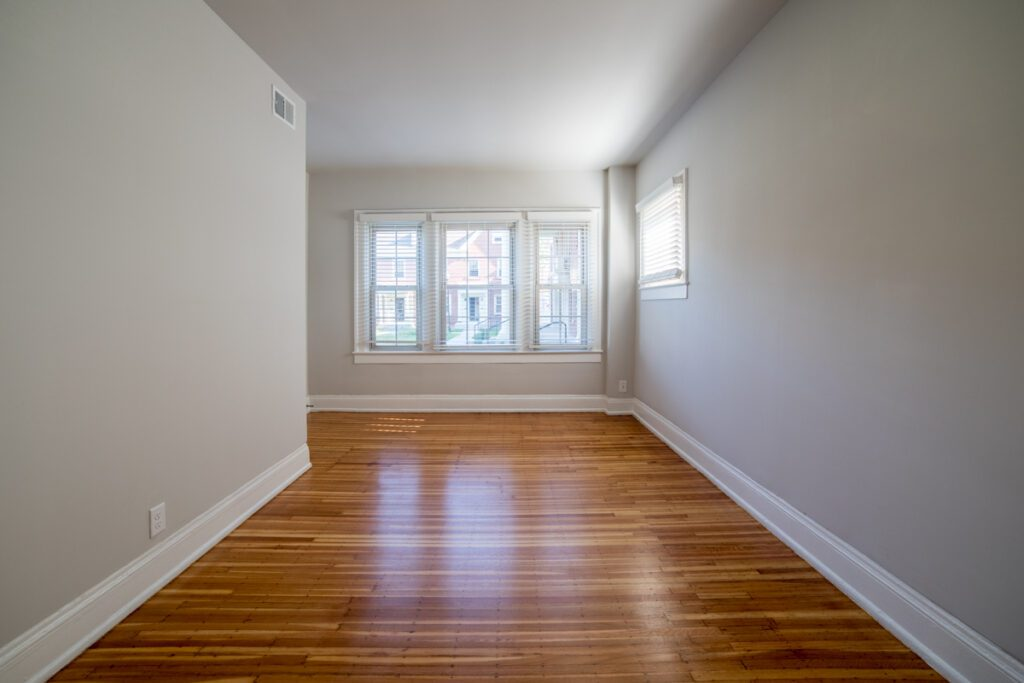 empty living room with beautiful wood floors